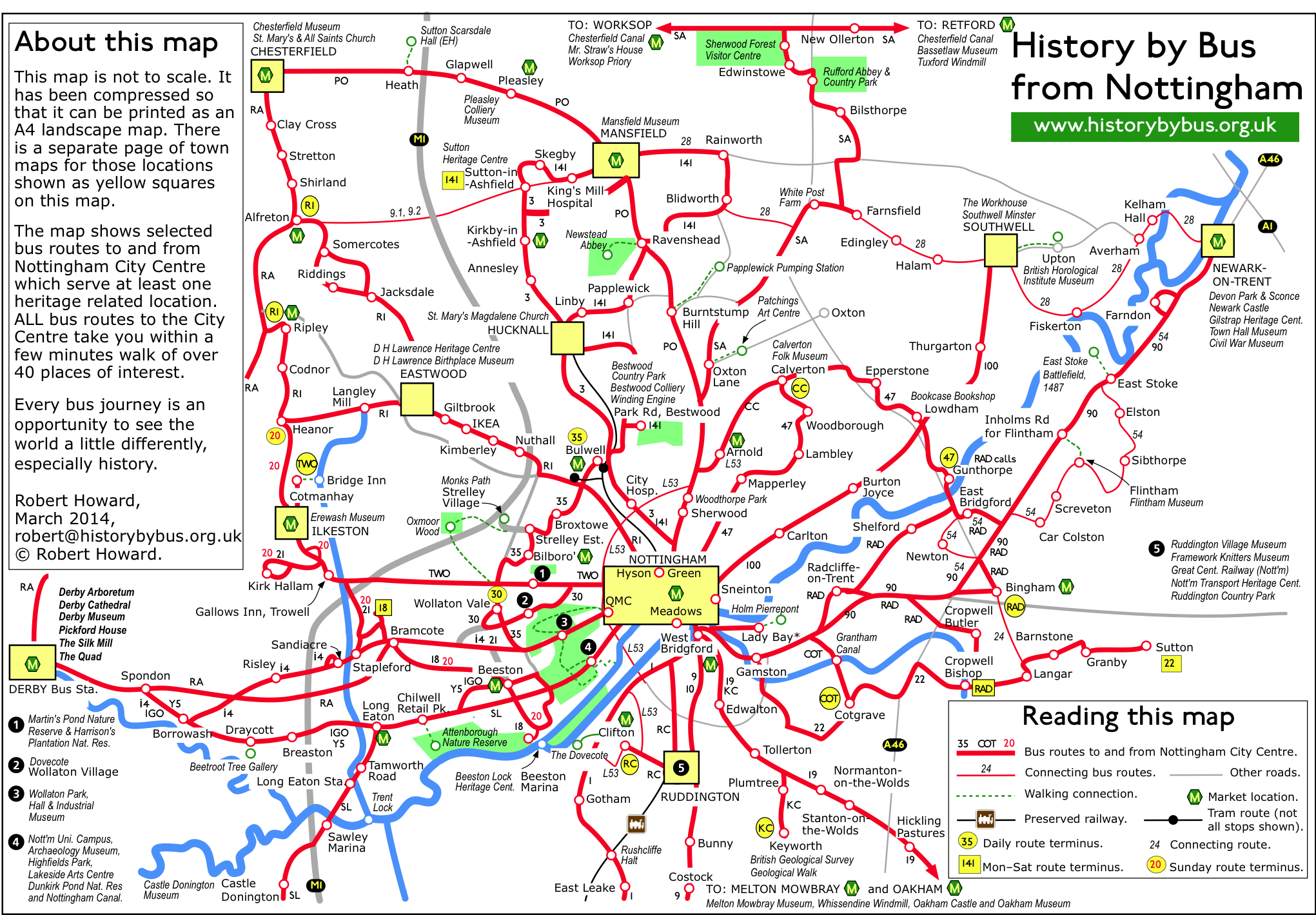 Nottingham History Bus Routes Map