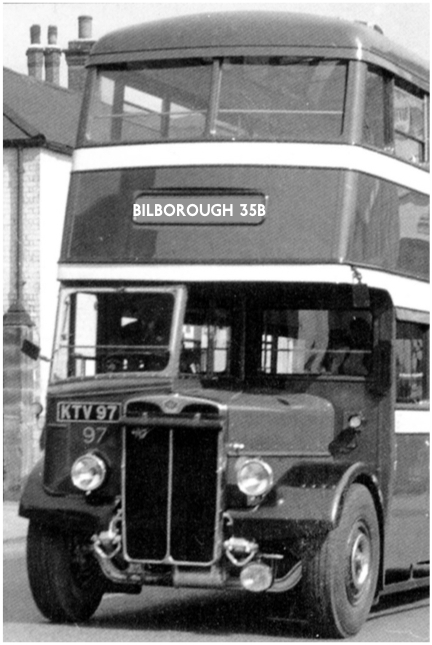 A Nottingham bus from 1949. An AEC Regent III. The photograph is from Nottingham 2 by John Banks with photographs by Geoffrey Atkins, published by Venture Publication, 2002. Bus books capture social history and townscapes and none do it better than this wonderful collection.